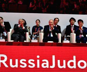 Prime Minister Narendra Modi with Russian President Vladimir Putin and Japanese Prime Minister Shinzo Abe during Fetisov Arena (Judo Tournament) in Vladivostok, Russia on Sep 5, 2019.