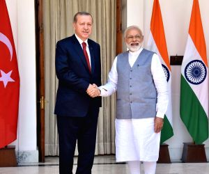PM Modi, Turkey President Tayyip Erdogan at Hyderabad House