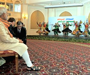 PM Modi witnessing, a cultural performance
