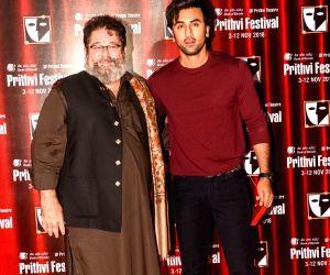 Prithvi Theatre's director Kunal Kapoor and actor Ranbir Kapoor during the Prithvi festival's opening ceremony in Mumbai on Nov 3, 2018. Prithvi Theatre celebrates 40 years. The festival ...