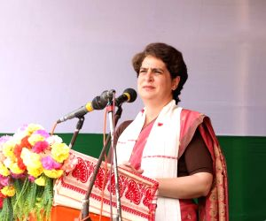 Free Photo: Assam: Priyanka Gandhi Vadra addressing a mega rally at Sarupathar LAC in Golaghat Dist