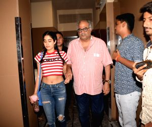 Boney Kapoor and Janhvi Kapoor seen at cinema theate