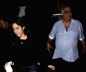 Boney Kapoor and Janhvi Kapoor seen at actor Arjun Kapoor's residence
