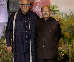 Producer Boney Kapoor and Rajya Sabha MP Amar Singh at the wedding reception of actress Sonam Kapoor and businessman Anand Ahuja in Mumbai on May 8, 2018.