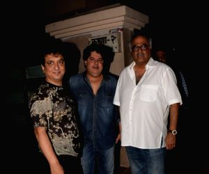 Producers Sajid Nadiadwala, Boney Kapoor and filmmaker Sajid Khan seen at producer Ekta Kapoor's residence in Mumbai on April 13, 2018 .