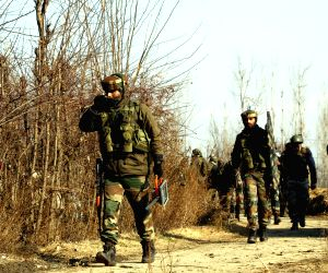 :Pulwama: Security personnel during search operations after six Kashmiri militants of the Al Qaeda-affiliate Zakir Musa group, Ansar Ghazwatul Hind, were gunned down by security forces in an ...