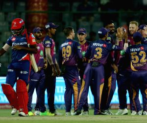 Pune Supergiant players celebrates the wicket of Sanju Samson