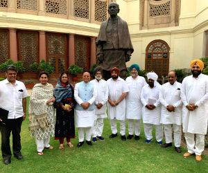 Punjab Chief Minister Captain Amarinder Singh meets the state's Congress Lok Sabha MPs, at Parliament in New Delhi on July 16, 2019.