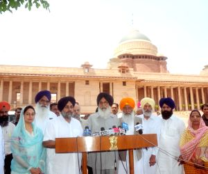 SAD Leaders speaking to media at Rastrapati Bhawan