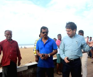 Puri:  Puri District Collector Jyoti Prakash Das monitors the evacuation of tourists in the wake of severe cyclonic storm 'Fani' in Odisha's Puri, on May 2, 2019. According to the India Meteorological Department, cyclone Fani, which has turned into a