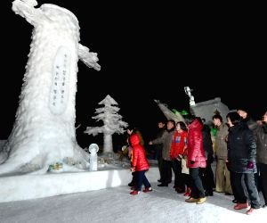 (WORLD SECTION) DPRK-RYANGGANG-ICE SCULPTURE FESTIVAL-BIRTH ANNIVERSARY-KIM JONG IL