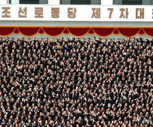 DPRK PYONGYANG KIM JONG UN WPK 7TH CONGRESS PHOTO SESSION