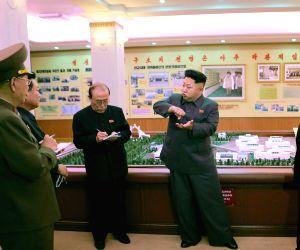 Kim Jong Un providing field guidance to the Jongsong Pharmaceutical General Factory in DPRK