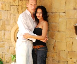 Rachana Shah shoots with Hollywood actor Julliane Sands for Bollywood Heroes movie at JW Marriott.