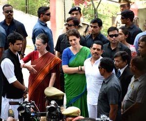 Rae Bareilly: Rae Bareilly: UPA Chairperson and Congress's Lok Sabha candidate from Rae Bareilly, Sonia Gandhi accompanied by Congress General Secretary (Uttar Pradesh East) Priyanka Gandhi Vadra, son-in-law Robert Vadra, and grandson Rehan ahead of