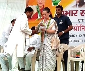 Rae Bareli: UPA Chairperson and newly elected Congress MP from Rae Bareli, Sonia Gandhi during a programme organised by the party to thank the voters of Rae Bareli for re-electing her with an ...