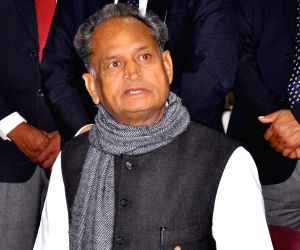 Rajasthan Chief Minister Ashok Gehlot addresses a press conference at his residence