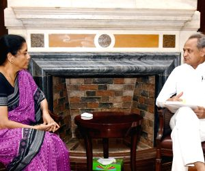 Rajasthan Chief Minister Ashok Gehlot meets Union Finance and Corporate Affairs Minister Nirmala Sitharaman, in New Delhi on June 15, 2019.