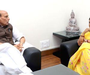 Rajasthan Chief Minister Vasundhara Raje calls on Union Home Minister Rajnath Singh, in New Delhi on June 14, 2018.