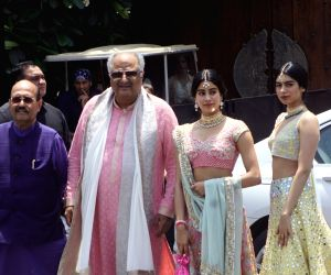 Rajya Sabha MP Amar Singh and producer Boney Kapoor along with his daughters Janhvi Kapoor and Khushi Kapoor during wedding ceremony of Sonam Kapoor and Anand Ahuja in Mumbai on May 8, 2018.