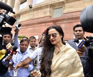 Rekha talks to press