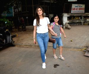 Riddhima Kapoor with her daughter seen at Juhu