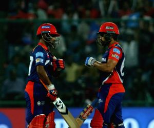 Rishabh Pant and Karun Nair of the Delhi Daredevils in action