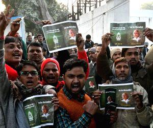 Lalu Prasad Yadav's supporters stage a demonstration