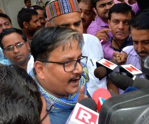 Manoj Jha talks to press