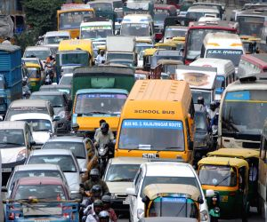 Routine traffic jam at Freedom Park in Bangalore