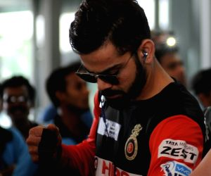 Royal Challengers Bangalore players arrive in Kolkata