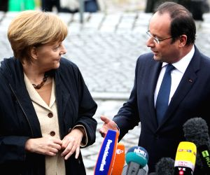Francois Hollande during a two-day visit to Germany