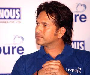 "Sachin Tendulkar at the launch of ""Livpure"" in Delhi."