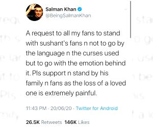 Salman requests fans to stand with Sushant Singh Rajput's  family, fans.
