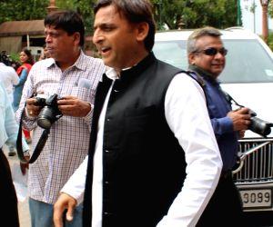Samajwadi Party chief Akhilesh Yadav arrives at Parliament in New Delhi on June 17, 2019.