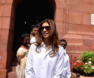 Samajwadi Party MP Jaya Bachchan's daughter Shweta Bachchan Nanda at Parliament in New Delhi on April 4, 2018.