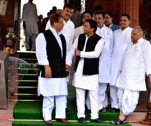 Samajwadi Party MPs Mulayam Singh Yadav, Akhilesh Yadav and Azam Khan at Parliament in New Delhi on June 17, 2019.