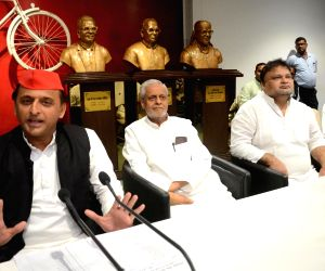 Akhilesh Yadav at a party meeting