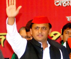 Akhilesh Yadav during a state conference of SP