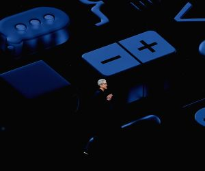 SAN JOSE, June 5, 2018 - Apple CEO Tim Cook takes the stage during Apple's Worldwide Developer Conference (WWDC) at the San Jose Convention Center in San Jose, California, the United States, June 4, ...