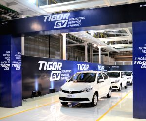 Sanand: Tata Motors rolls out the first batch of the compact sedan Tigor's electric variant from its Sanand facility in Gujarat on Dec 6, 2017. Tigor EVs (electric vehicles) are being manufactured for the Union government's order of electric vehicles