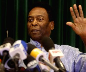 Sao Paulo (Brazil): Pele during a press conference after recovered well from his kidney ailment