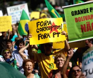 Sao Paulo (Brazil): Brazilian people protest against Brazil's President Dilma Rousseff