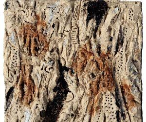Satish Sharma, Sediment Hues 26, Oil sand, gravel and acrylic shavings on canvas. (Photo Source: Raza Foundation)
