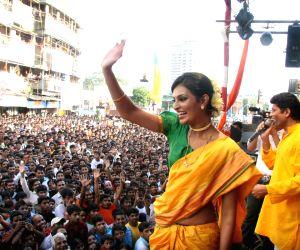 Sayali Bhagat at Worli Dahi Handi celebrations at Worli in Mumbai on Thursday Evening.