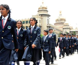 School students at Vidhana Soudha