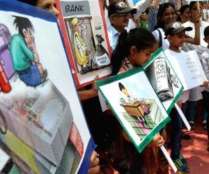 School students' demonstration against hike in fees