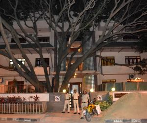 Security beefed up outside the residence of actress Deepika Padukone's parents in Bengaluru, on Nov 20, 2017. Police personnel have been posted following threats over her role in the Hindi film ...