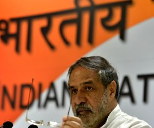 Senior Congress leader Anand Sharma addresses a press conference at All India Congress Committee (AICC) office in New Delhi on Oct 9, 2017.