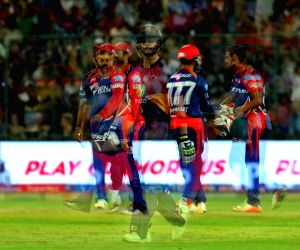 Shahbaz Nadeem of the Delhi Daredevils celebrates the wicket of Rising Pune Supergiant captain Steven Smith